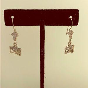 Egyptian design real silver earrings